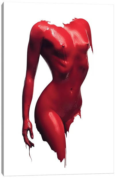 Woman Body Red Paint Canvas Art Print