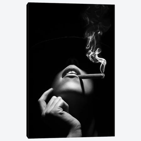 Woman Smoking A Cigar Canvas Print #JSW76} by Johan Swanepoel Canvas Art