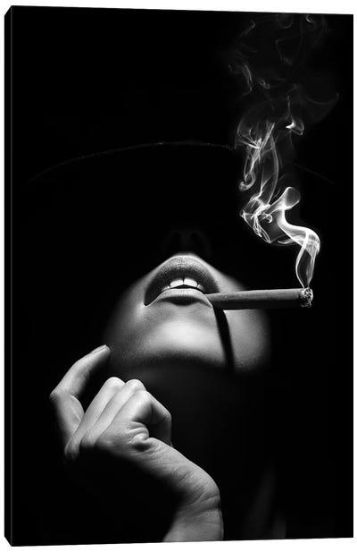 Woman Smoking A Cigar Canvas Art Print