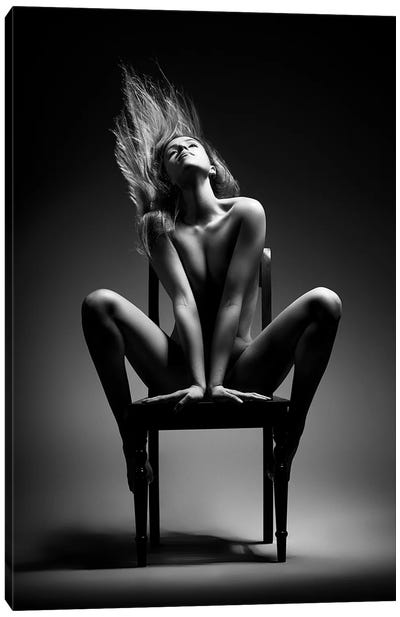Nude Woman On Chair I Canvas Art Print
