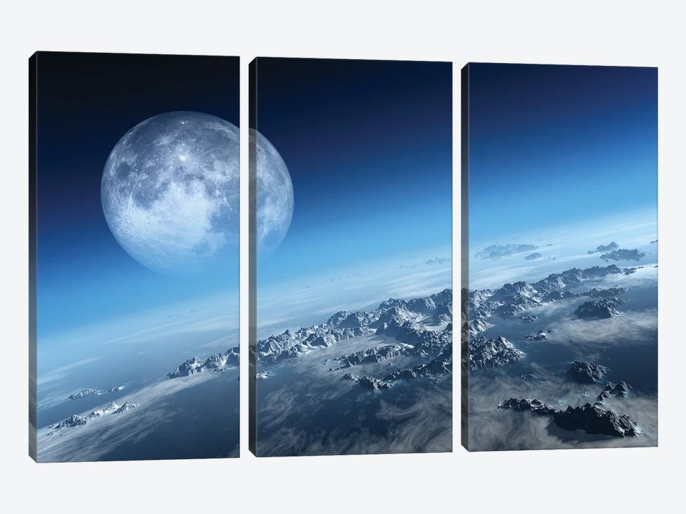 Earth Icy Ocean Aerial View by Johan Swanepoel 3-piece Canvas Art Print