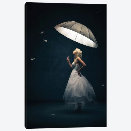 Girl With Umbrella And Feathers Canvas Print #JSW91} by Johan Swanepoel Canvas Print