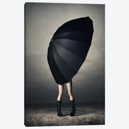 Woman With Huge Umbrella Canvas Print #JSW95} by Johan Swanepoel Canvas Art