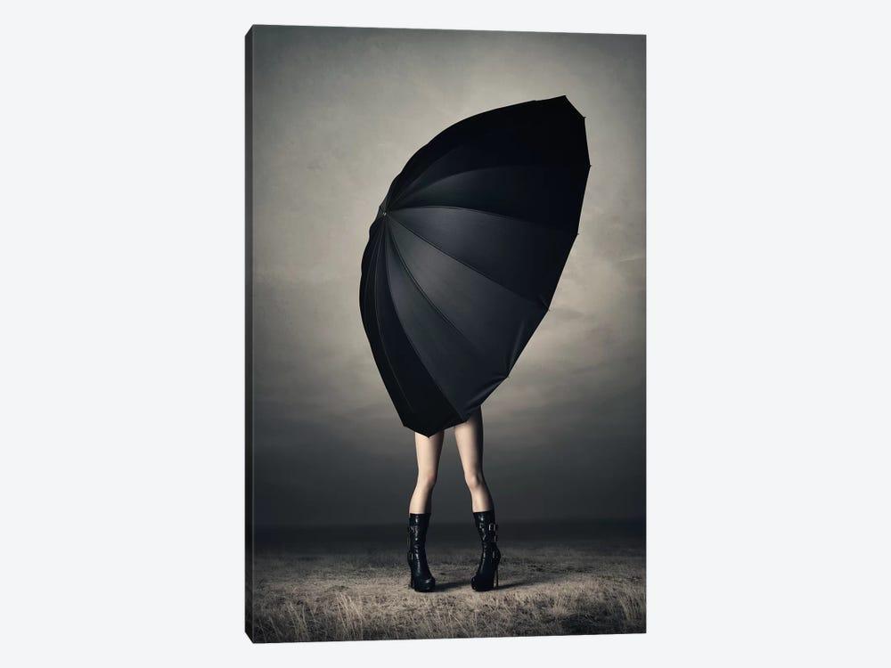 Woman With Huge Umbrella by Johan Swanepoel 1-piece Art Print