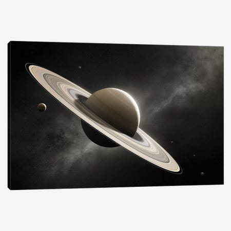 Planet Saturn With Major Moons Canvas Print #JSW97} by Johan Swanepoel Canvas Art