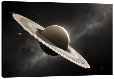 Planet Saturn With Major Moons Canvas Art Print