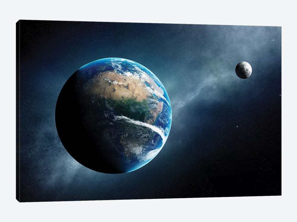 Earth And Moon Space View by Johan Swanepoel 1-piece Canvas Art