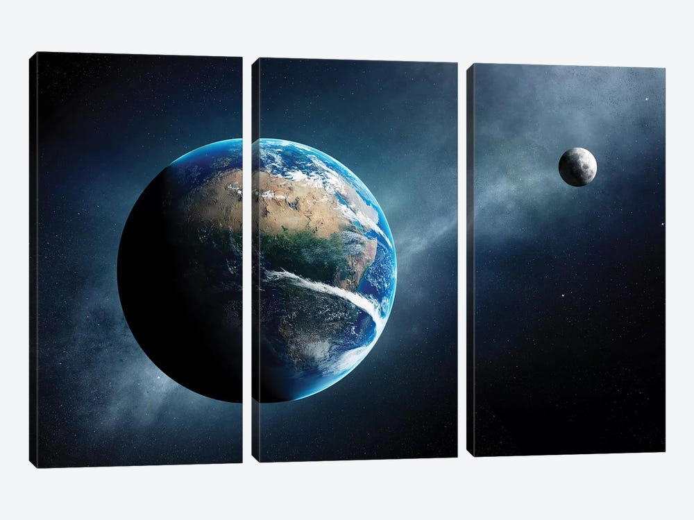 Earth And Moon Space View by Johan Swanepoel 3-piece Canvas Wall Art