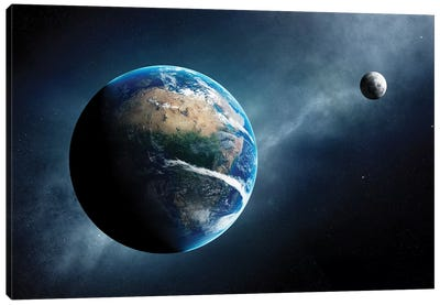 Earth And Moon Space View Canvas Art Print