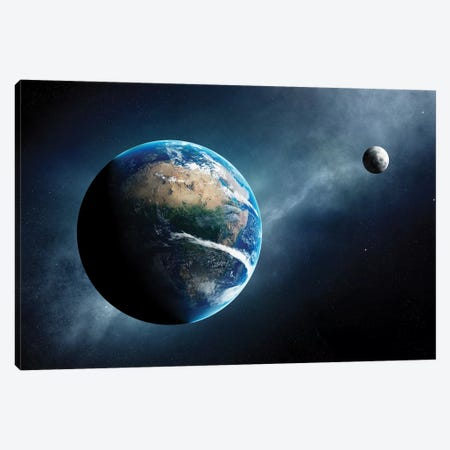 Earth And Moon Space View Canvas Print #JSW98} by Johan Swanepoel Canvas Print