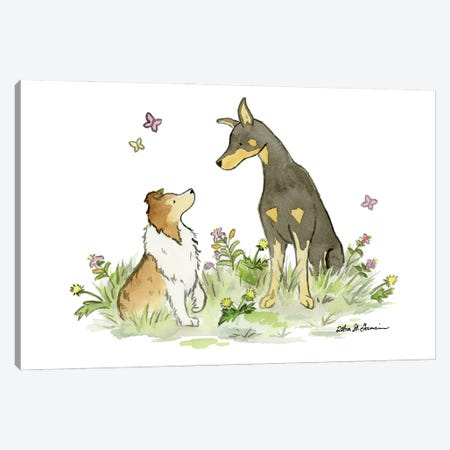 Myka And Dash: Doberman And Shetland Sheepdog Canvas Print #JSY100} by Jasper And Ruby Art Print