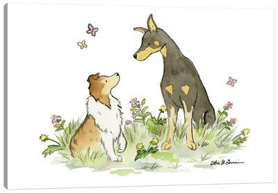 Myka And Dash: Doberman And Shetland Sheepdog Canvas Art Print