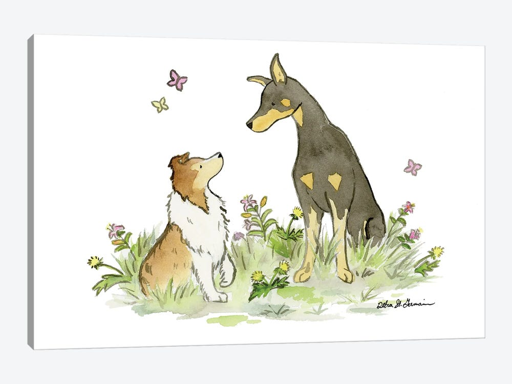 Myka And Dash: Doberman And Shetland Sheepdog by Jasper And Ruby 1-piece Canvas Wall Art