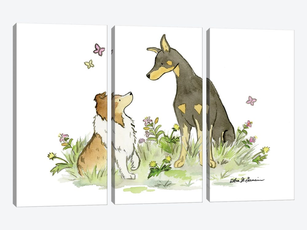 Myka And Dash: Doberman And Shetland Sheepdog by Jasper And Ruby 3-piece Canvas Wall Art