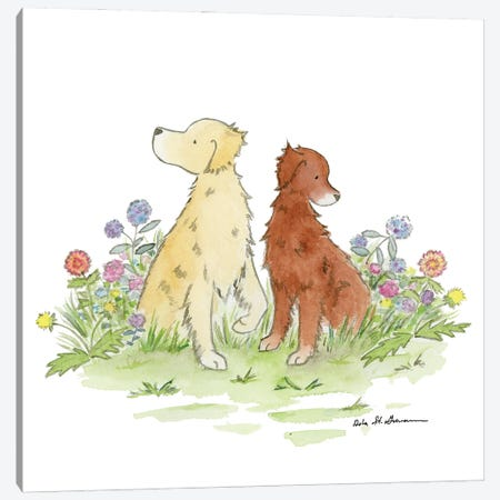 Gus And Poppy, Golden Retrievers Canvas Print #JSY102} by Jasper And Ruby Art Print