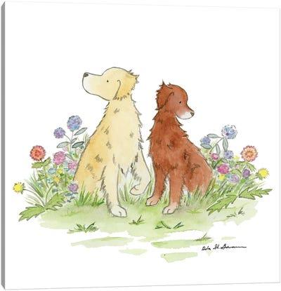 Gus And Poppy, Golden Retrievers Canvas Art Print