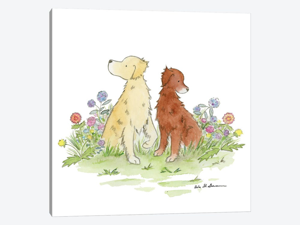 Gus And Poppy, Golden Retrievers by Jasper And Ruby 1-piece Canvas Wall Art