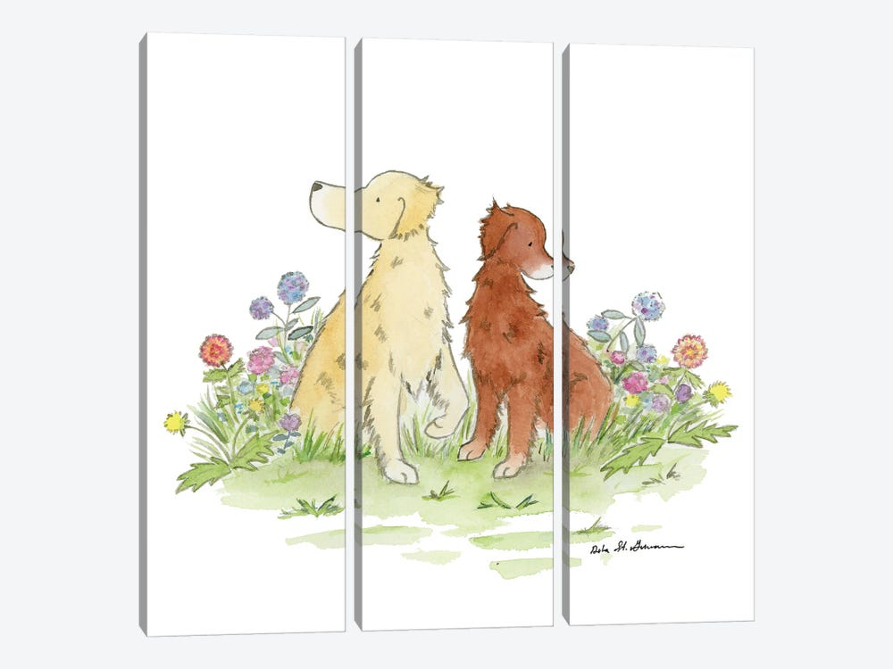 Gus And Poppy, Golden Retrievers by Jasper And Ruby 3-piece Canvas Art