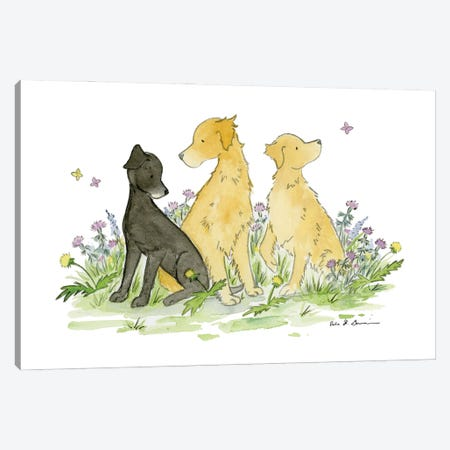 Max, Casey, And Belle- Black Lab And Golden Retriever Canvas Print #JSY107} by Jasper And Ruby Canvas Artwork