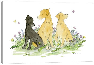 Max, Casey, And Belle- Black Lab And Golden Retriever Canvas Art Print