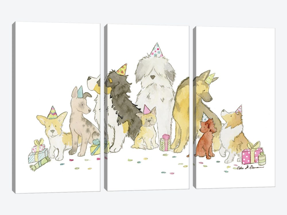 Puppy Party by Jasper And Ruby 3-piece Canvas Print