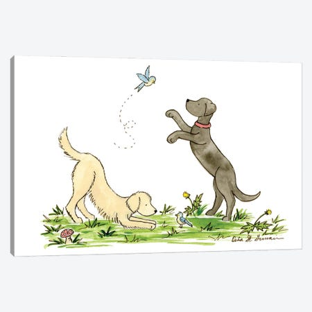 Our Feathered Friends- Labrador And Golden Retriever Canvas Print #JSY10} by Jasper And Ruby Canvas Art Print