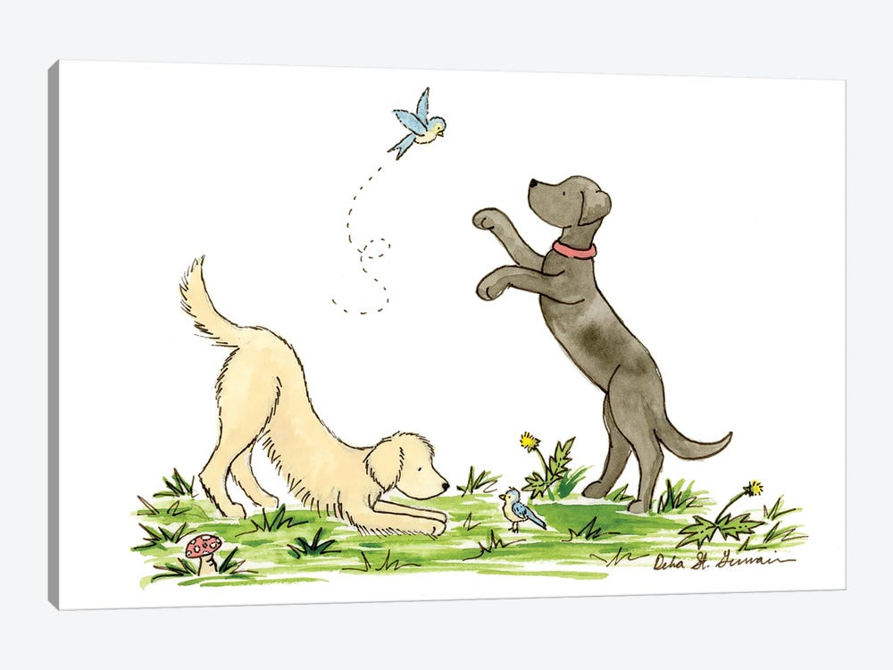 Our Feathered Friends- Labrador And Golden Retriever by Jasper And Ruby 1-piece Canvas Print