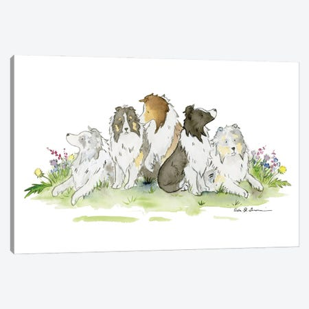 Sheltie Family Canvas Print #JSY115} by Jasper And Ruby Canvas Art Print
