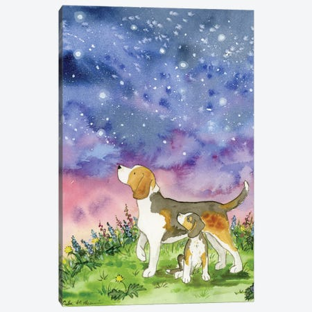 Beagles On A Starry Night Canvas Print #JSY116} by Jasper And Ruby Canvas Art Print