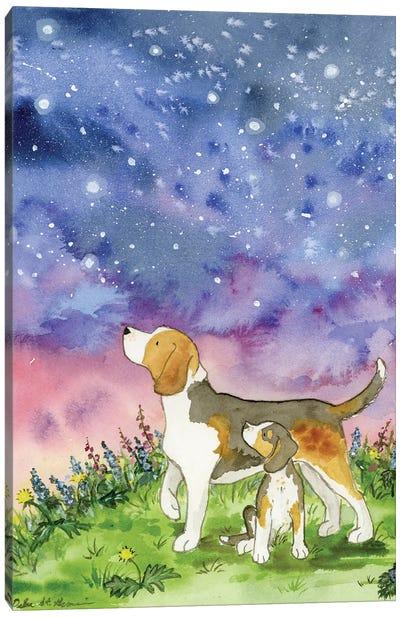Beagles On A Starry Night Canvas Art Print
