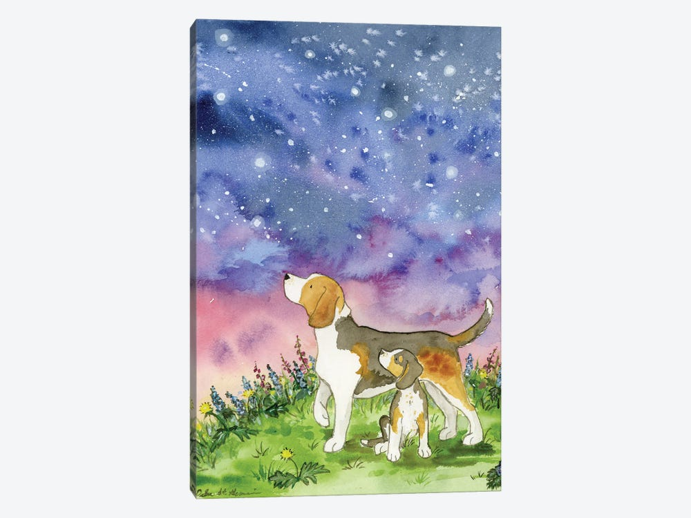 Beagles On A Starry Night by Jasper And Ruby 1-piece Art Print