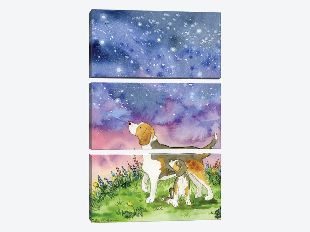 Beagles On A Starry Night by Jasper And Ruby 3-piece Art Print