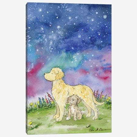 Golden Doodles And The Starry Skies Canvas Print #JSY119} by Jasper And Ruby Canvas Artwork