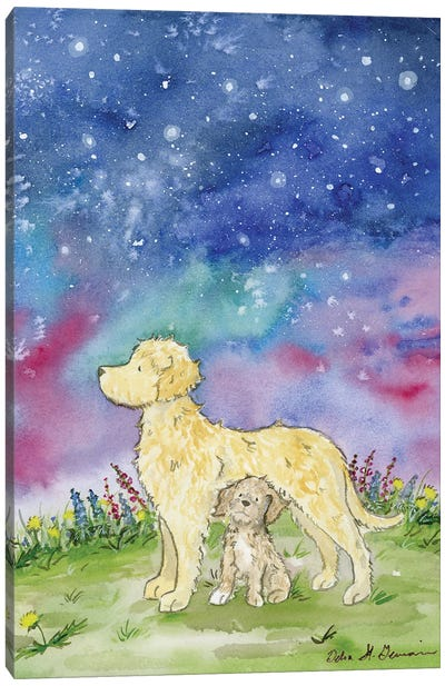 Golden Doodles And The Starry Skies Canvas Art Print