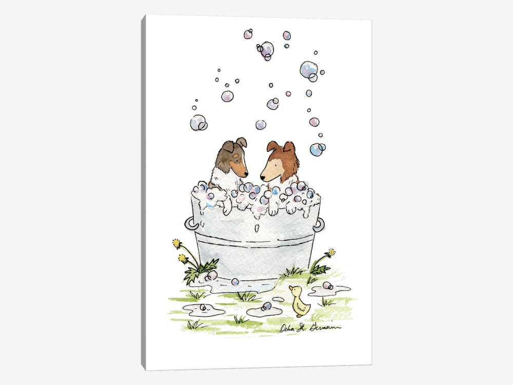 Bath Time for Collies by Jasper And Ruby 1-piece Canvas Art