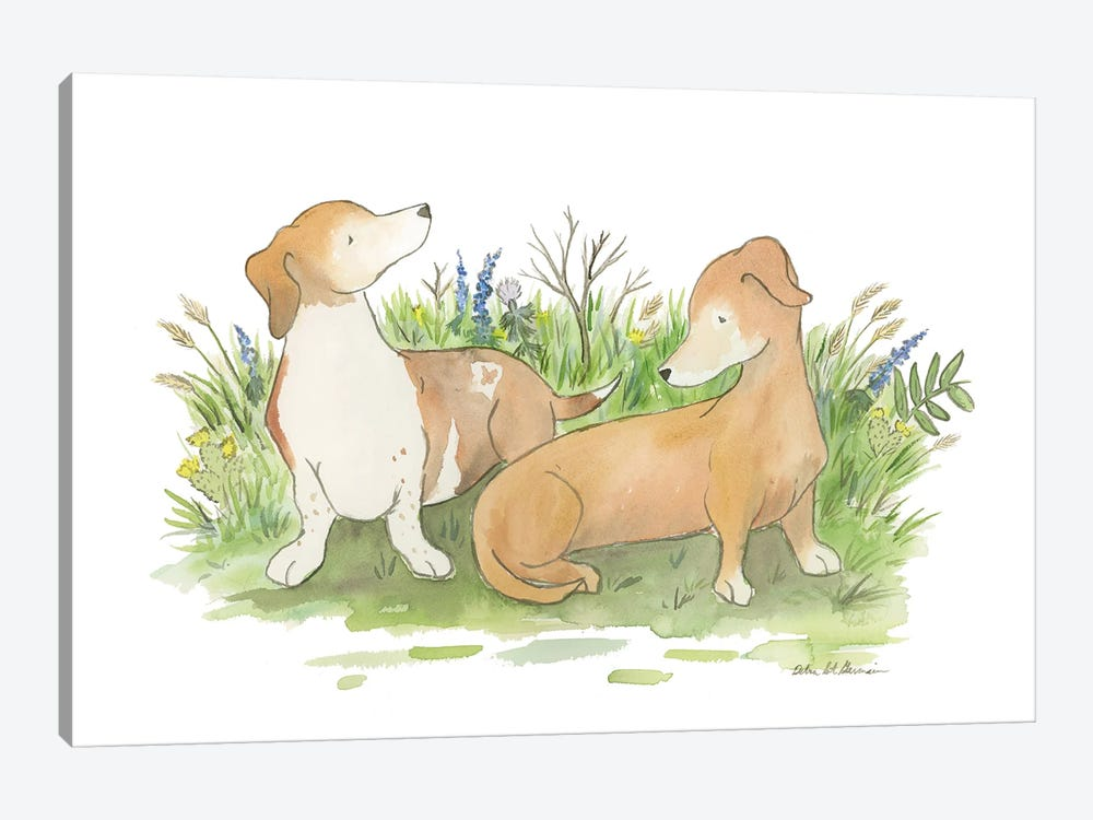 Khloe And Harley The Dachshunds by Jasper And Ruby 1-piece Canvas Art