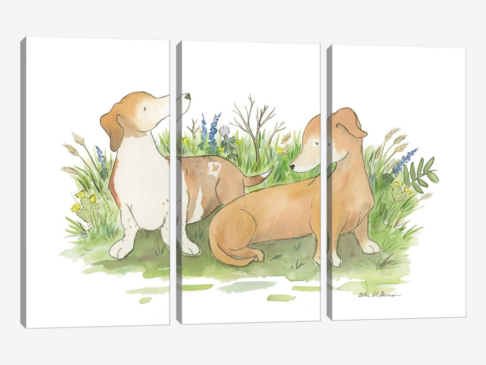Khloe And Harley The Dachshunds by Jasper And Ruby 3-piece Canvas Wall Art