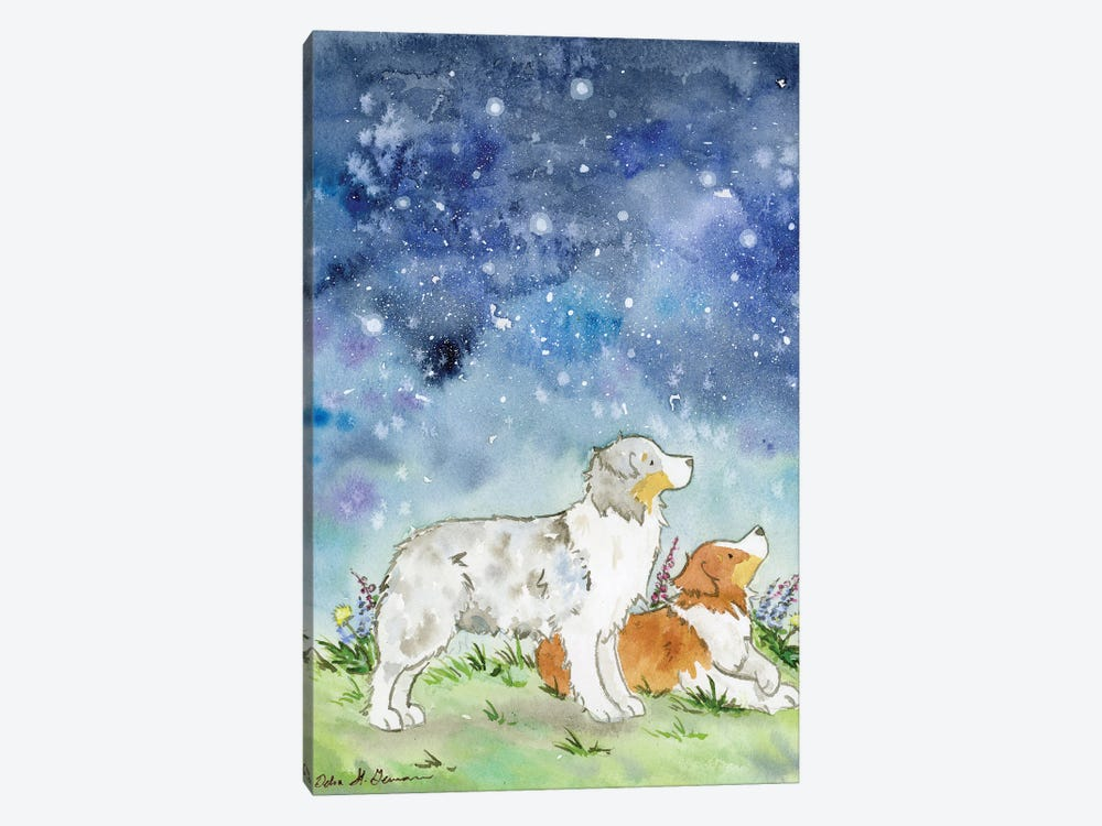 Australian Shepherds On A Starry Night by Jasper And Ruby 1-piece Canvas Wall Art