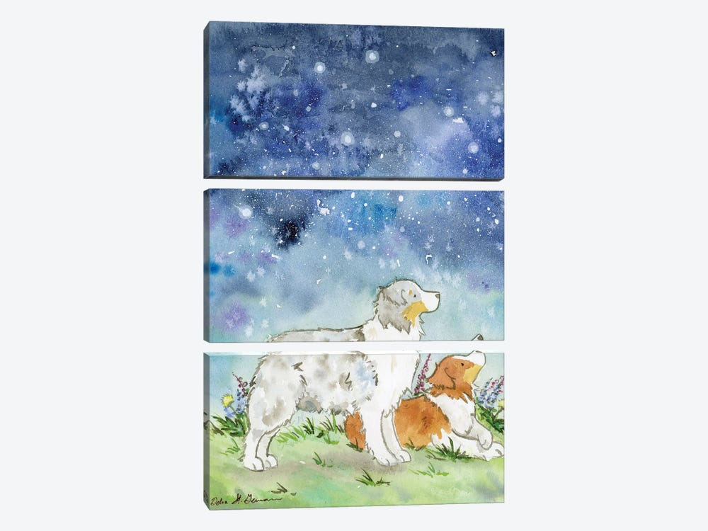 Australian Shepherds On A Starry Night by Jasper And Ruby 3-piece Canvas Wall Art