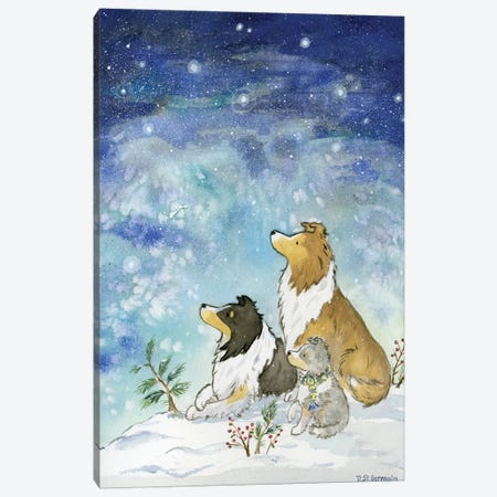 Shelties On A Winter Night Canvas Print #JSY128} by Jasper And Ruby Canvas Print
