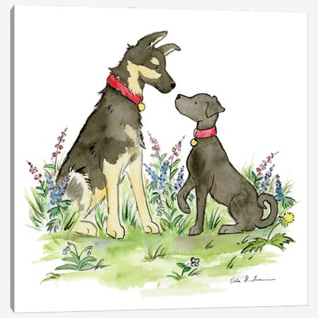 Ranger And Polly, German Shepherd And Black Lab Canvas Print #JSY129} by Jasper And Ruby Art Print