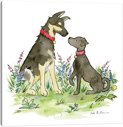 Ranger And Polly, German Shepherd And Black Lab Canvas Art Print