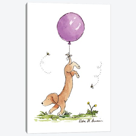 Carried Away: Dachshund with Purple Balloon Canvas Print #JSY12} by Jasper And Ruby Canvas Art Print