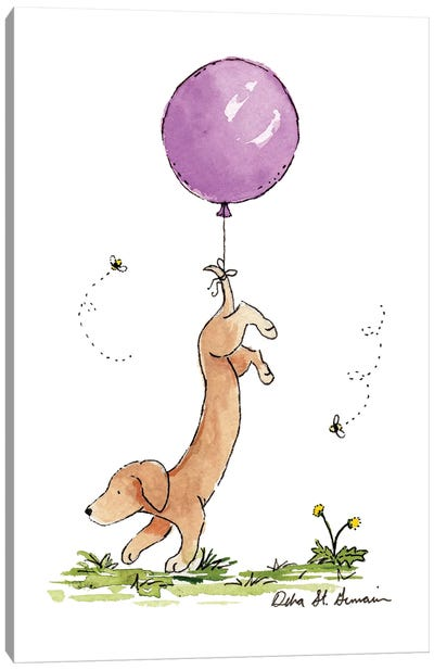 Carried Away: Dachshund with Purple Balloon Canvas Art Print