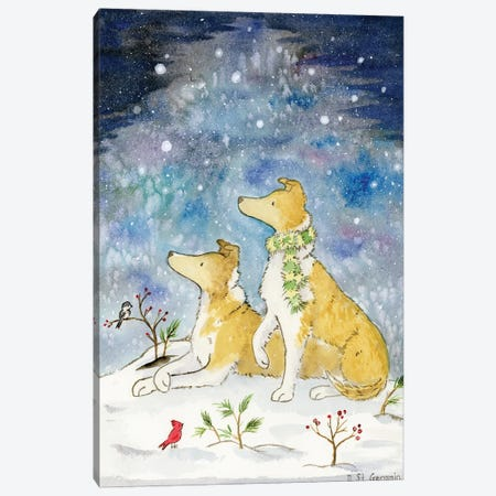 Smooth Collies And The Starry Winter Sky Canvas Print #JSY131} by Jasper And Ruby Canvas Artwork
