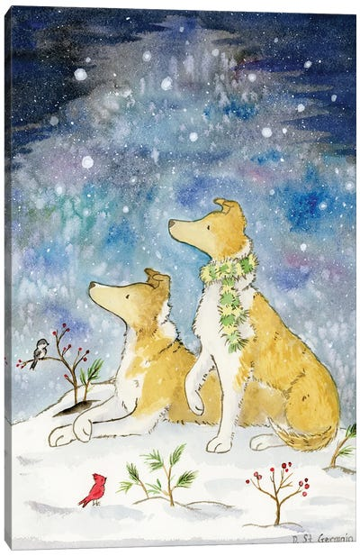 Smooth Collies And The Starry Winter Sky Canvas Art Print