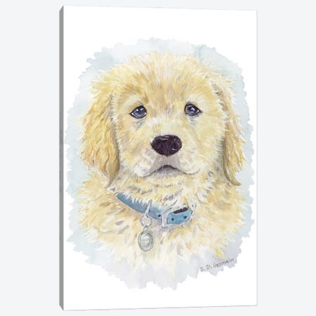 Tucker The Golden Retriever Puppy Canvas Print #JSY132} by Jasper And Ruby Canvas Wall Art