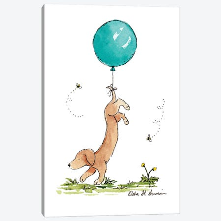Carried Away: Dachshund with Turquoise Balloon Canvas Print #JSY13} by Jasper And Ruby Art Print