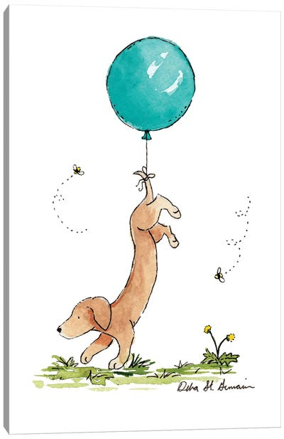 Carried Away: Dachshund with Turquoise Balloon Canvas Art Print