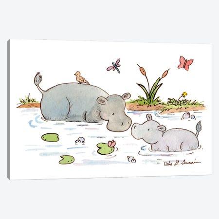 Happy Hippos Canvas Print #JSY14} by Jasper And Ruby Canvas Wall Art
